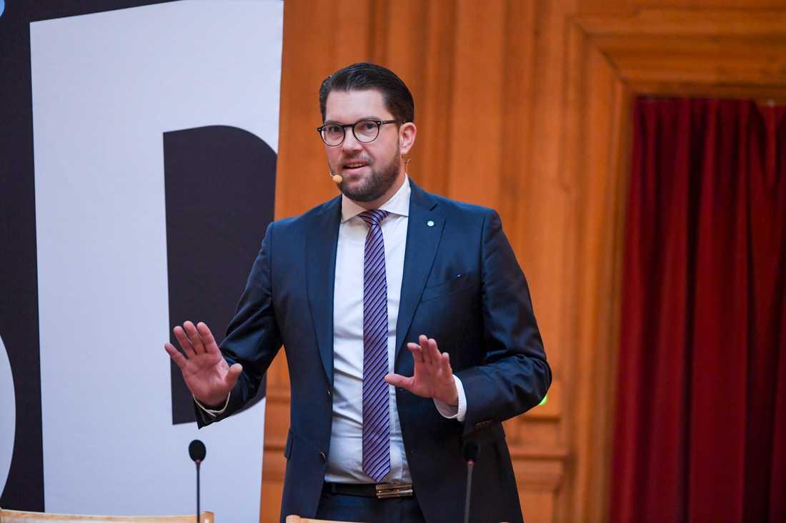Partiledaren Jimmie Åkesson på Sverigedemokraternas framtidskonferens.