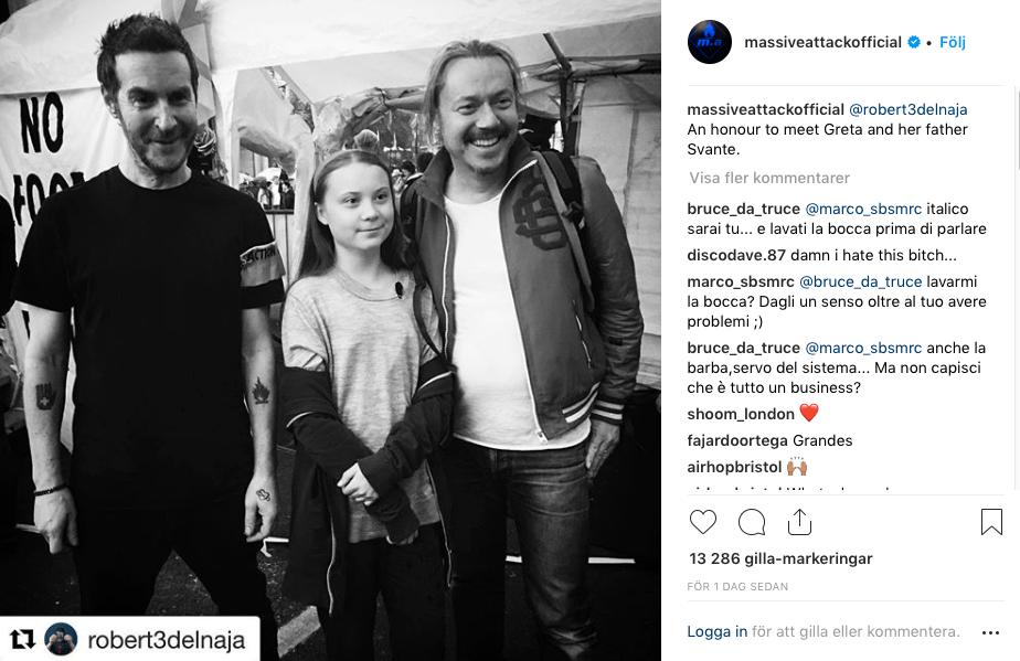 Även 90-talsbandet Massive Attack ville ta en selfie med Greta och hennes pappa Svante Thunberg i London.