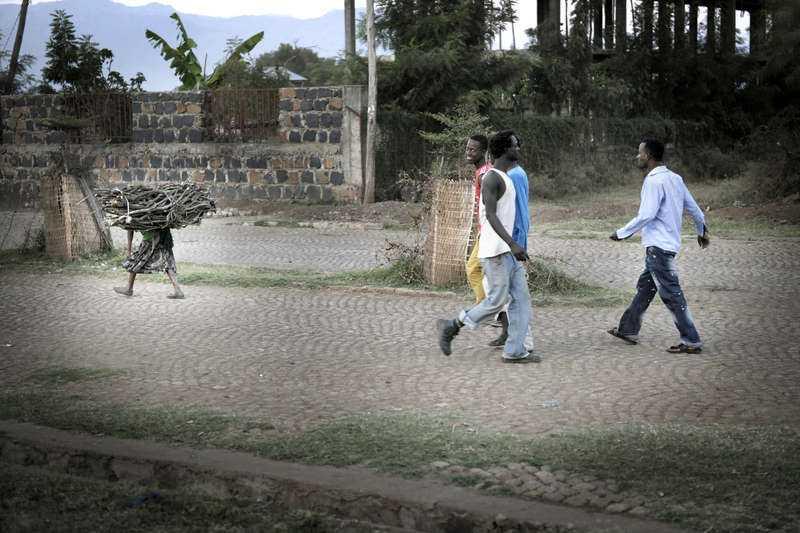 INGEN SER HUR ALAMAZE, 8, SLITER I Etiopien bär inte män ved. Det är en syssla som lämnas till flickor, kvinnor och boskap. Ingen vuxen ägnar Almaze Dagne, 8, en blick när hon går på gatan med sitt vedlass.