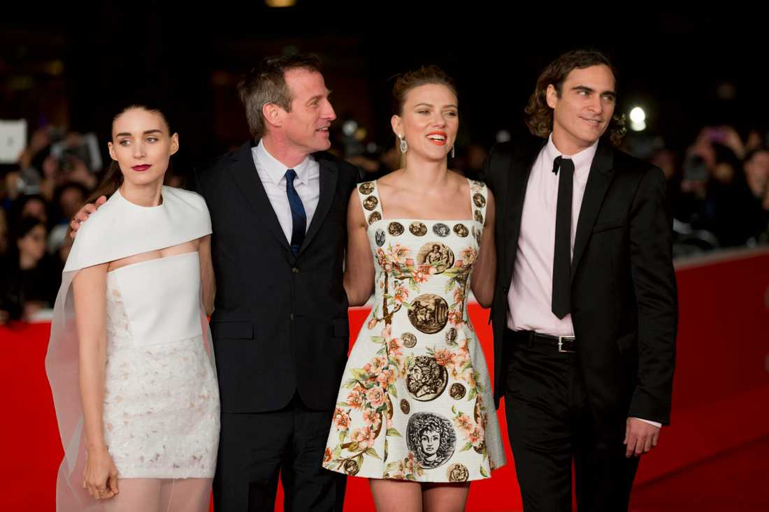 Rooney Mara, regissören Spike Jonze, actors Scarlett Johansson and Joaquin Phoenix.