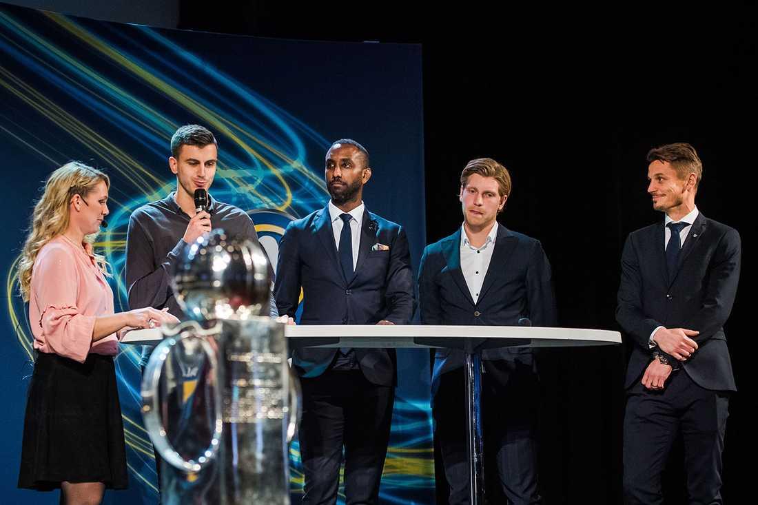 Anna Brolin, Alexander Jeremejeff, Häcken, Henok Goitom, AIK, Alexander Fransson, IFK Norrköping, Markus Rosenberg, Malmö FF, under fotbollsallsvenskans upptaktsträff.
