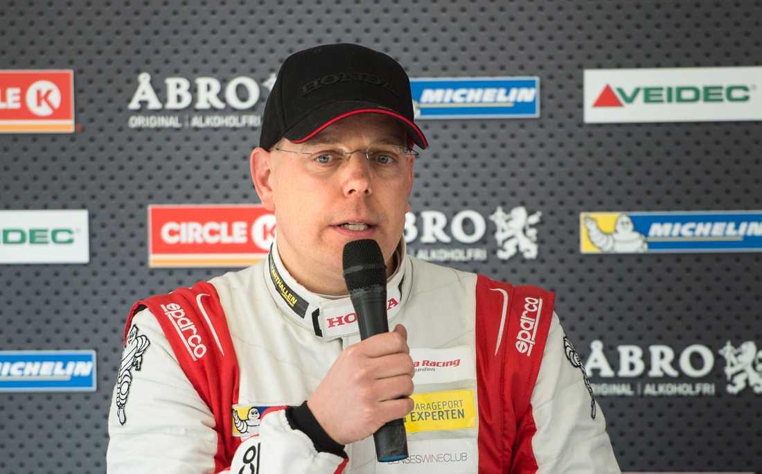 """Veteranen Mattias Andersson gör ytterligare en säsong i sin Honda. Han kan under säsongen bli den förare som gjort flest starter i STCC:s historia och passera legendaren Jan """"Flash"""" Nilsson. Arkivbild."""
