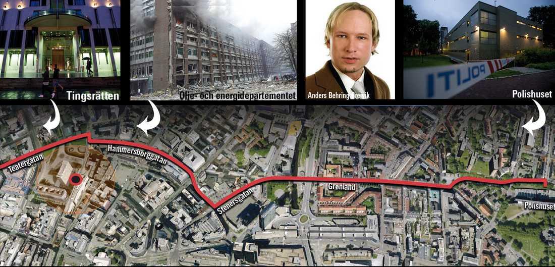 HÄR GÅR FÄRDEN Anders Behring Breivik förs ut från polishuset på Grönlandsvägen. Beväpnad polis eskorterar honom genom centrala Oslo. Färden skär rakt igenom de sprängda regeringskvarteren, bland annat över Grubbegata och Askersgata. Den misstänkte körs sedan in i ett garage vid Oslo Tingsrätt på Teatergatan.