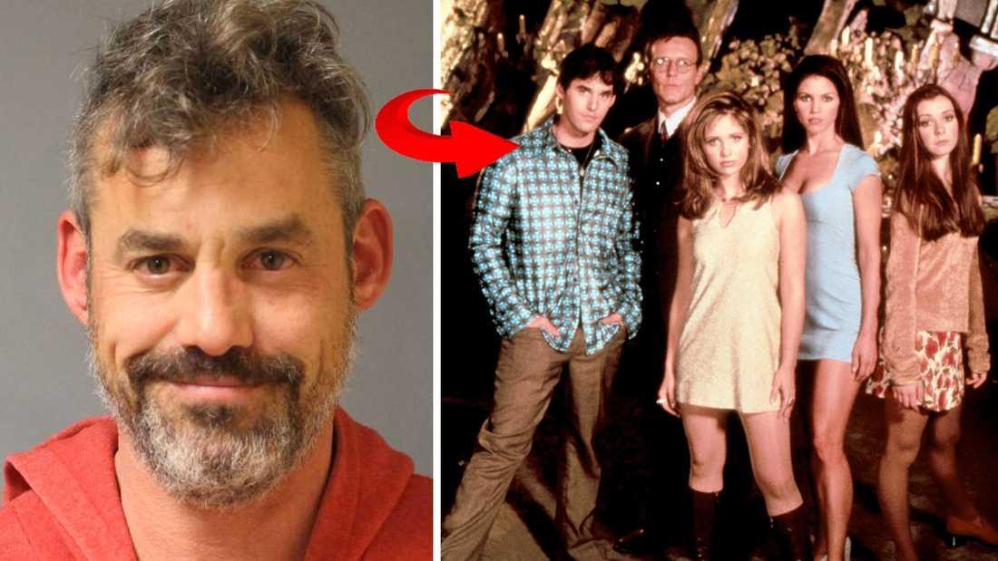 """Nicholas Brendons """"mugshot"""" vid ett tidigare gripande 2015 och som  Xander Harris i """"Buffy och vampyrerna"""" (längst till vänster)."""