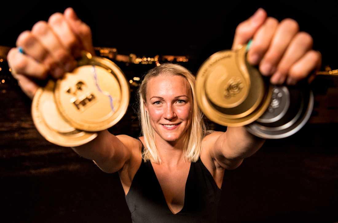 Sarah Sjöström efter VM 2017.