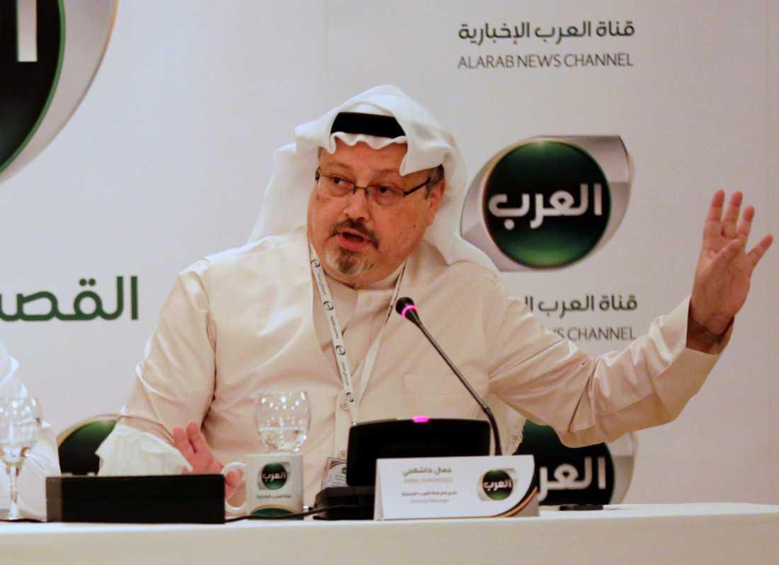 Jamal Khashoggi, under en presskonferens Bahrain i december 2014, då han var vd för en nystartad arabiskspråkig nyhetskanal.