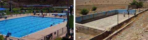 Samtidigt som bosättningar har tillgång till poolar drabbas palestinierna av akut vattenbrist. Till höger en tömd vattenreservoar.