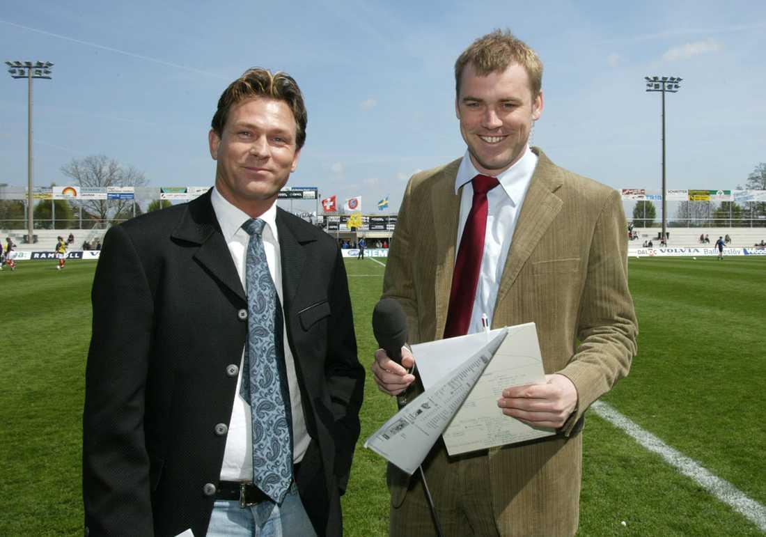 Expertkommentator Efter att han avslutat sin karriär som aktiv fotbollsspelare började han kommentera fotboll på tv. Här med Daniel Kristiansson 2004.