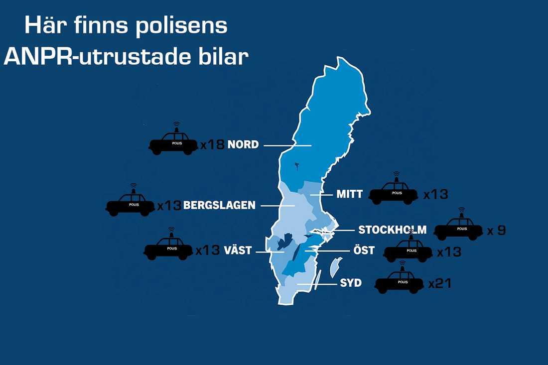 Flest ANPR-utrustade polisbilar finns i region SYD.