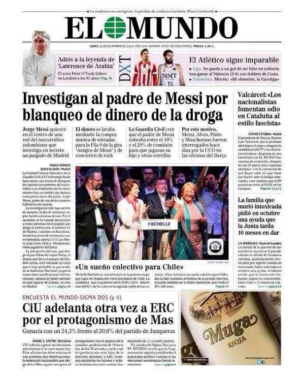 Spanska tidningen El Mundo i dag.