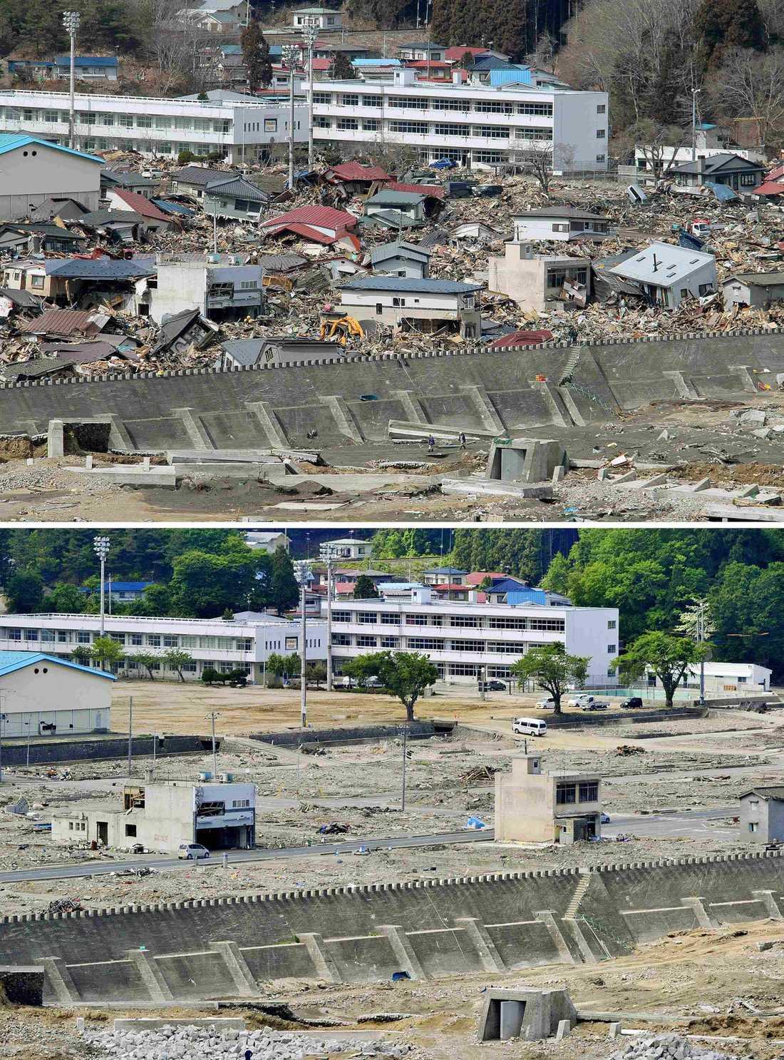 Staden Miyako i nordöstra Japan 23 mars – och i dag.