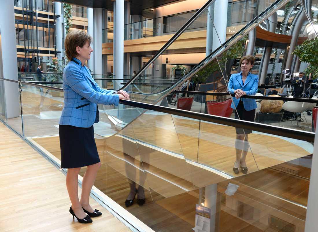 Ensam – men ändå inte. Diane James, politisk vilde från Storbritannien satt som grupplös ledamot i EU-parlamentet i två år.
