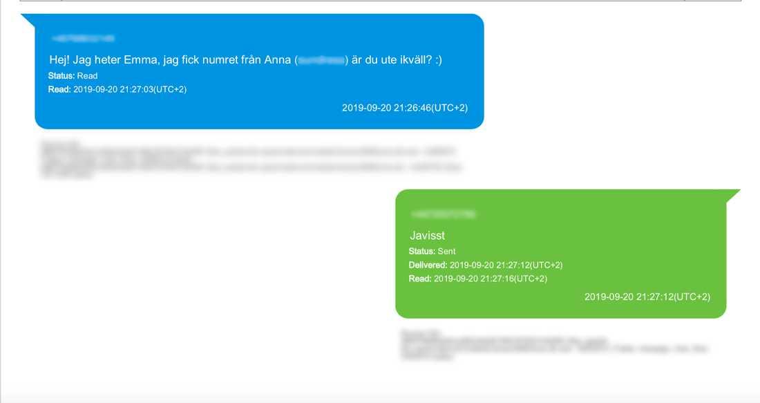 Sms-konversation från polisens förundersökning.