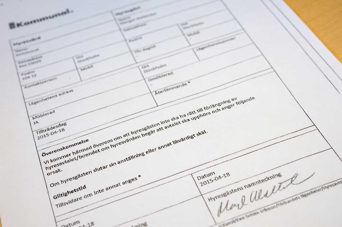 Här är hyreskontraktet som är undertecknat av Margot Wallström