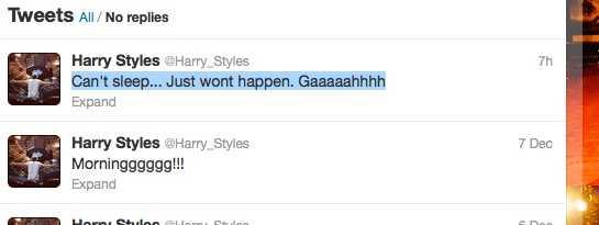 Harry Styles ligger sömnlös Ibland kan inte Harry sova. Då twittrar han.