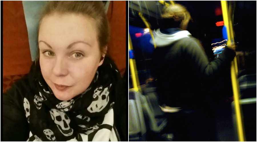 Angelicas son blev misshandlad på bussen – ingen ingrep. (Personen på bussbilden har inget med texten att göra.)