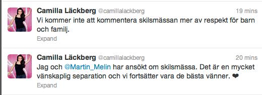 Camilla Läckberg twittrar om uppbrottet.