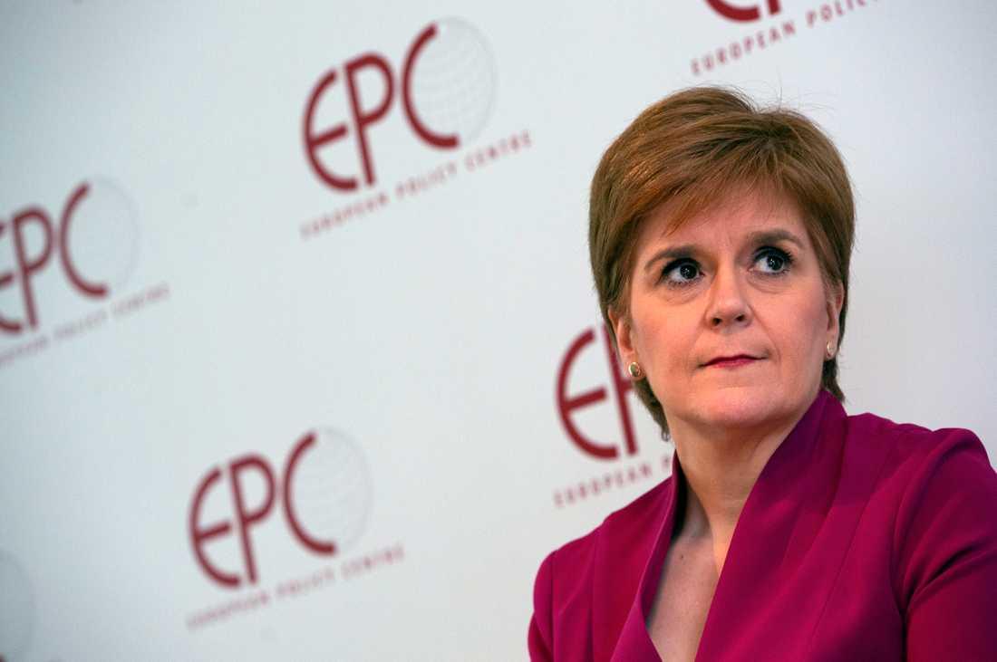 Skottlands försteminister, eller regionala regeringschef, Nicola Sturgeon. Bild från Bryssel tidigare i år.