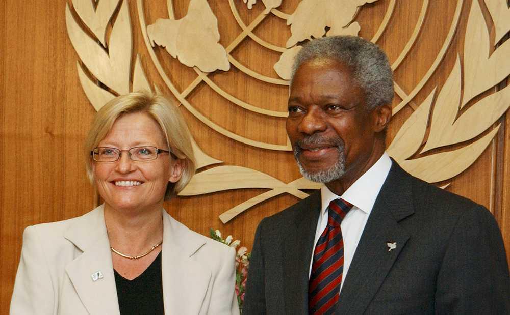 Anna Lindh med Kofi Annan, dåvarande FN-chefen.