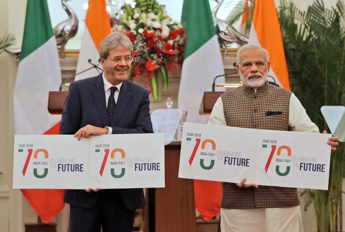 Den indiske premiärministern Narendra Modi (till höger), och Italiens dåvarande premiärminister Paolo Gentiloni år 2017. Arkivbild.