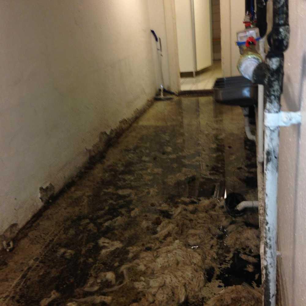 Saneringsfirmor har varit där för att försöka städa golven som är svarta av skit på grund av läckande avloppsrör.