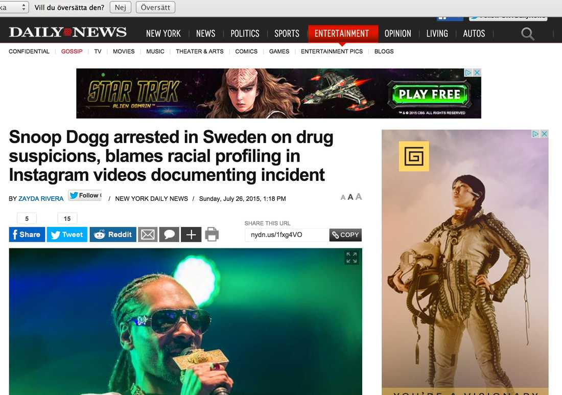 NY Daily News Snoop Dogg arrested in Sweden on drug suspicions, blames racial profiling in Instagram videos documenting incident