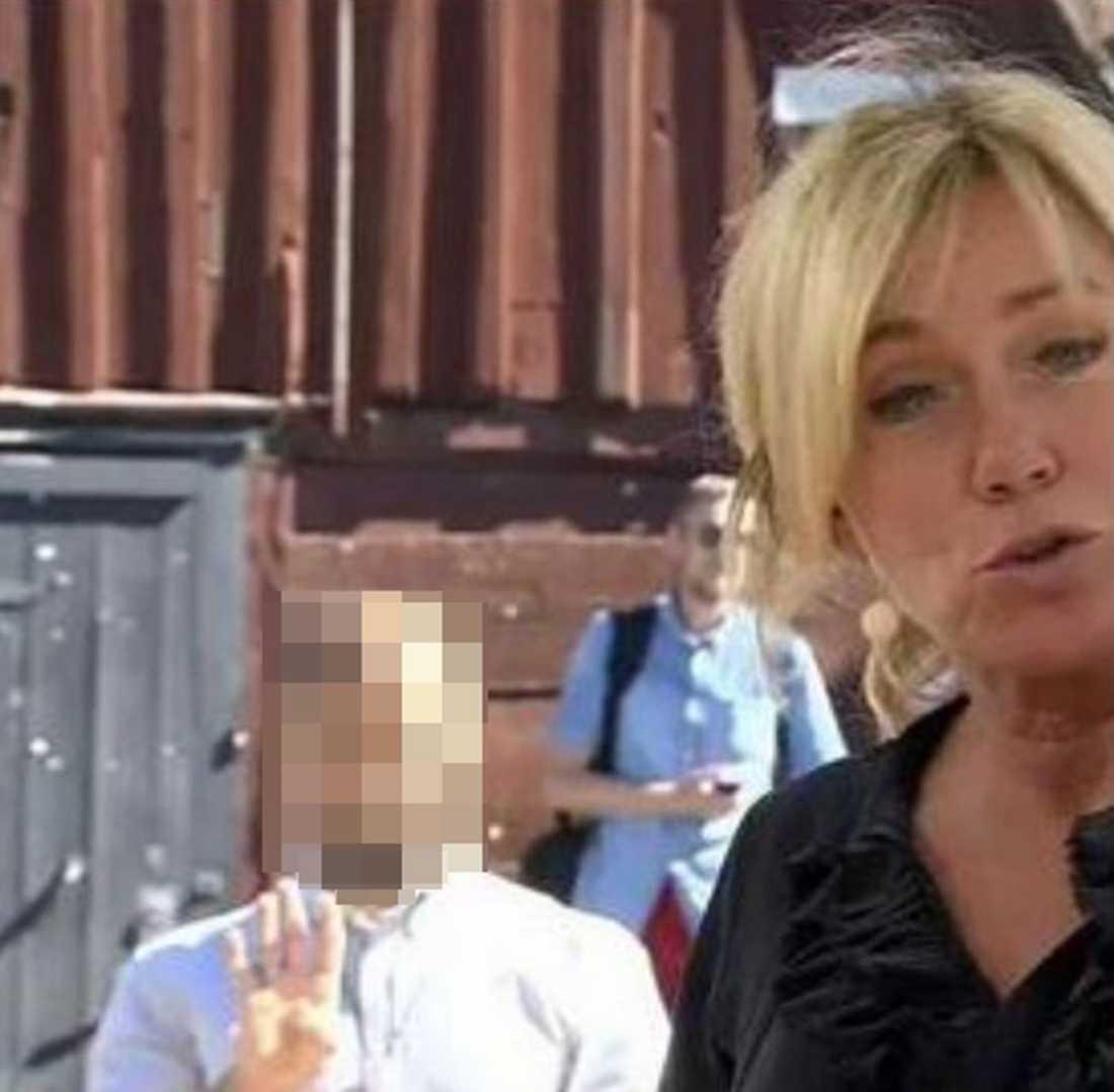 Miljöpartisten dök upp bakom SVT:s Anne Lundberg och gjorde hälsningen med fyra fingrar.