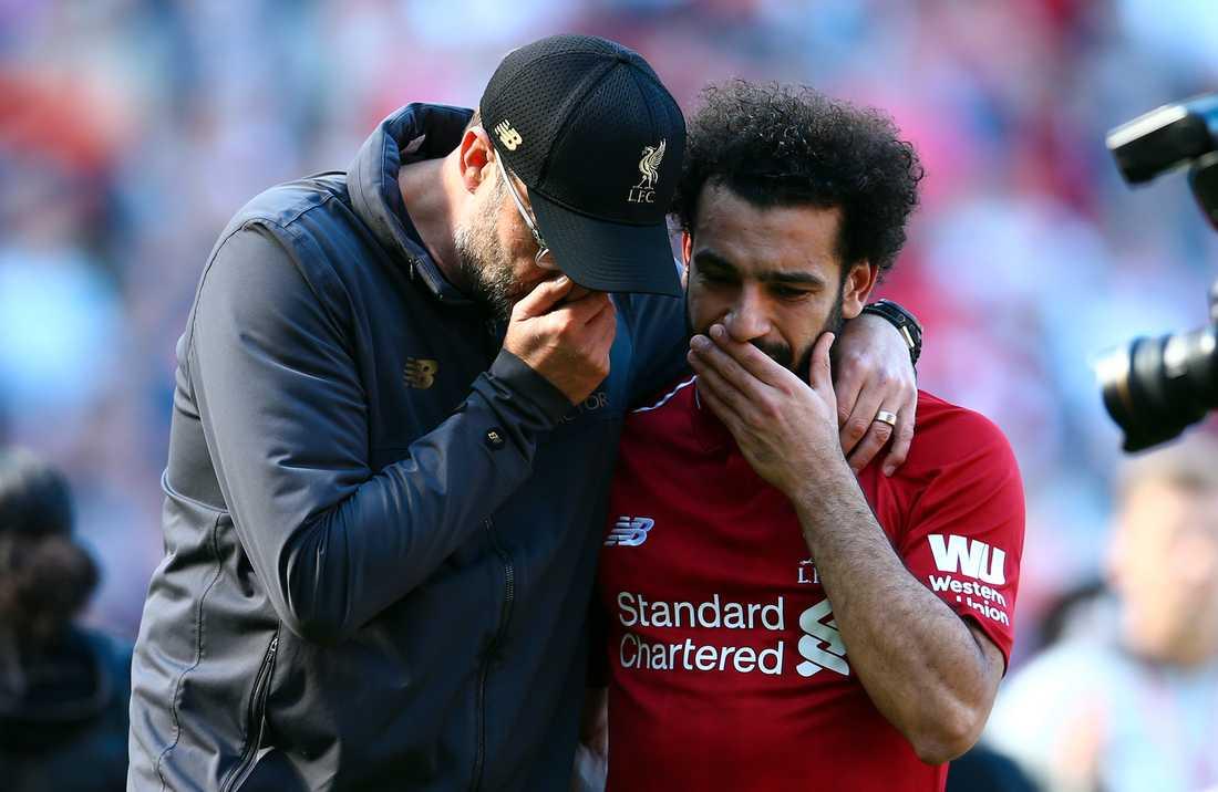 Liverpools Jürgen Klopp och Mohamed Salah