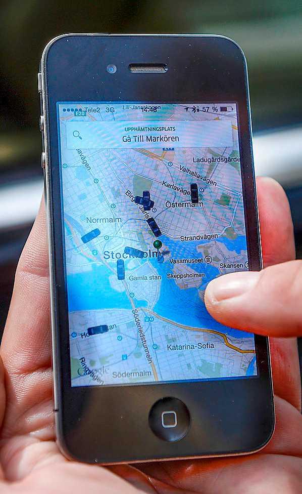 Beställning och betalning av taxibilar anslutna till Uber görs via en app.
