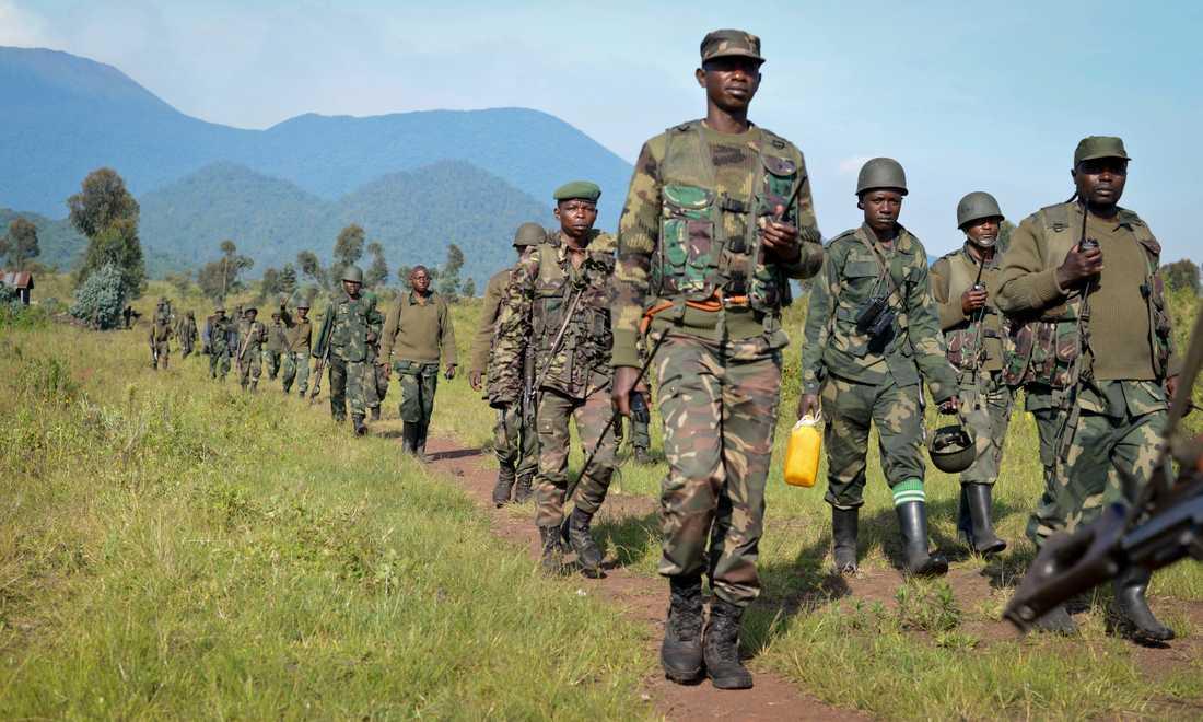 Kongolesiska regeringssoldater i den oroliga provinsen Nordkivu, där en rad milisgrupper sprider död och skräck. Arkivbild.