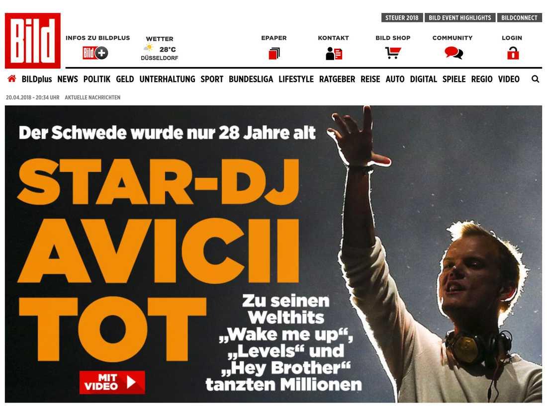 Tyska Bild om Aviciis död.
