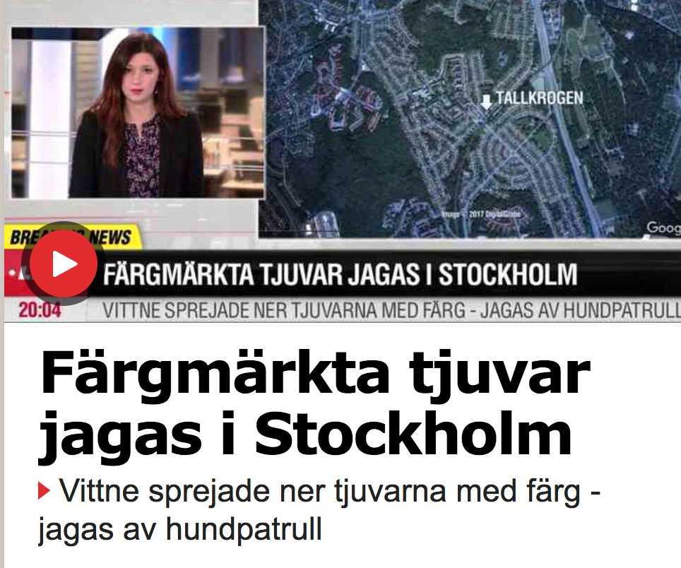 I går rapporterade Aftonbladet att person sprejat ner misstänkta tjuvar med färg.