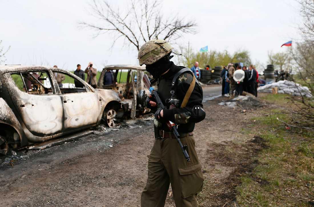 En prorysk separatist vid vägspärren där flera personer dödades natten mot söndag.