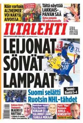 """Iltalehti tog till djurliknelse på framsidan: """"Lejonen åt fåren"""" låter den översatta rubriken."""