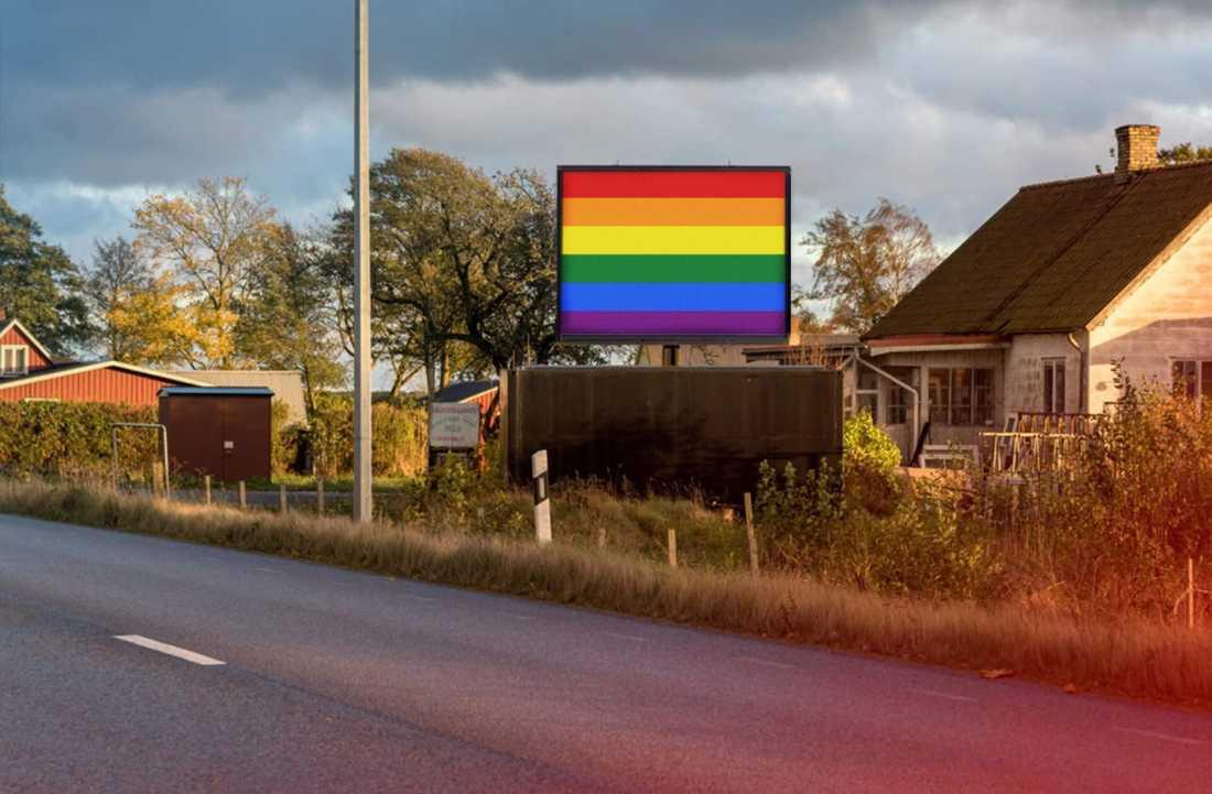 13 skärmar ska visa Prideflaggan i en månad.