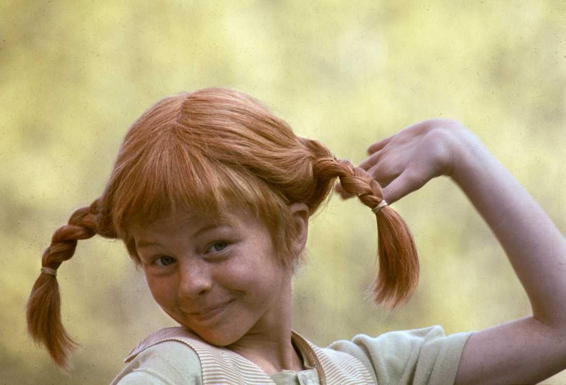 Barnskådespelaren Inger Nilsson i rollen som Pippi Långstrump – flickhjälten som nu fyller 75 år. Arkivbild.