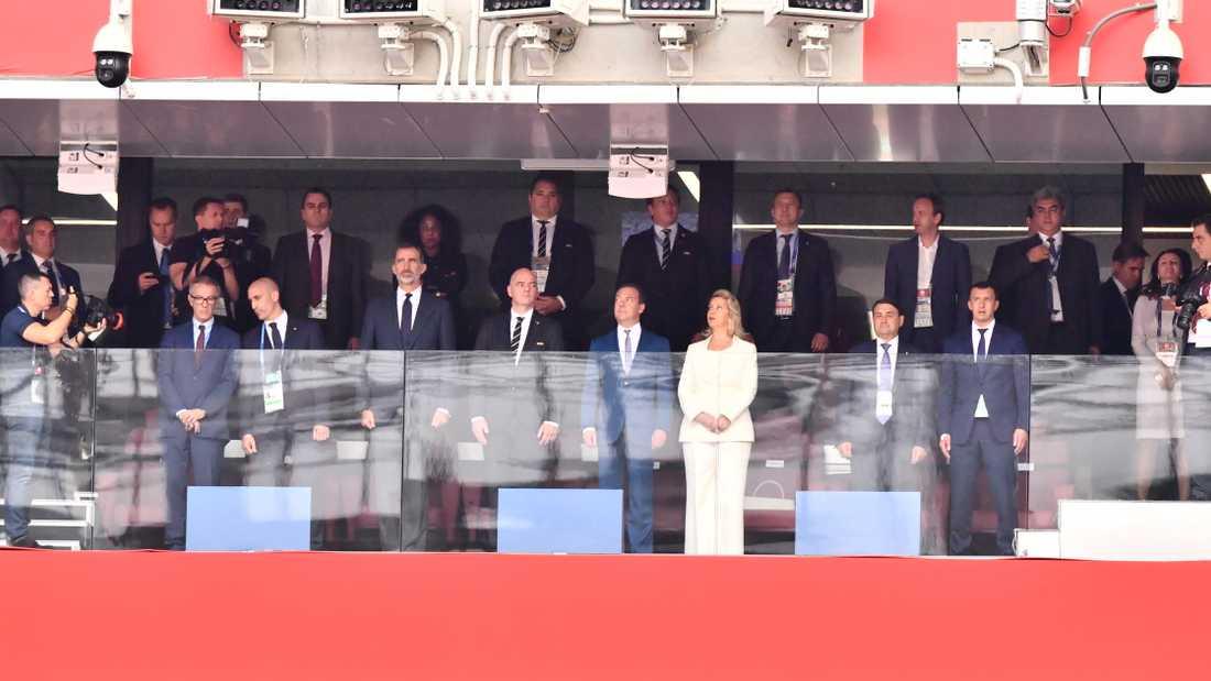 Gianni Infantino, generalsekreterare för Fifa och Rysslands premiärminister Dmitrij Medvedev.