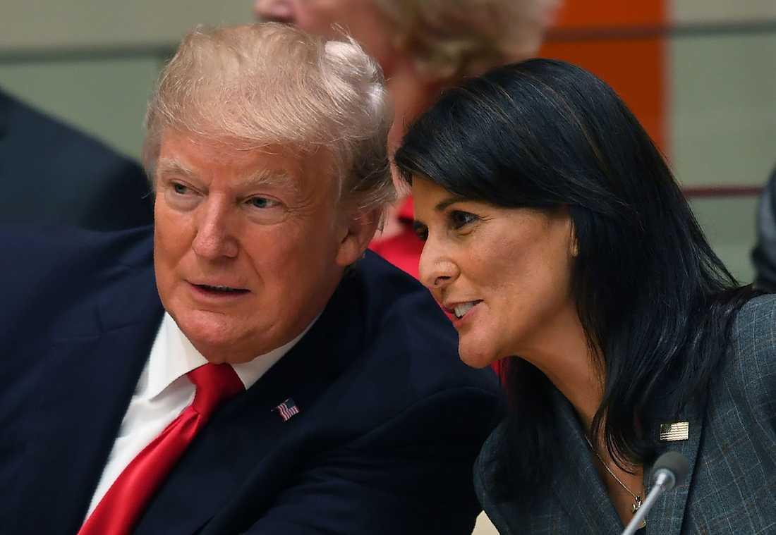 USA:s FN-ambassadör Nikki Haley är en av få som sett Trumps tal i förväg.