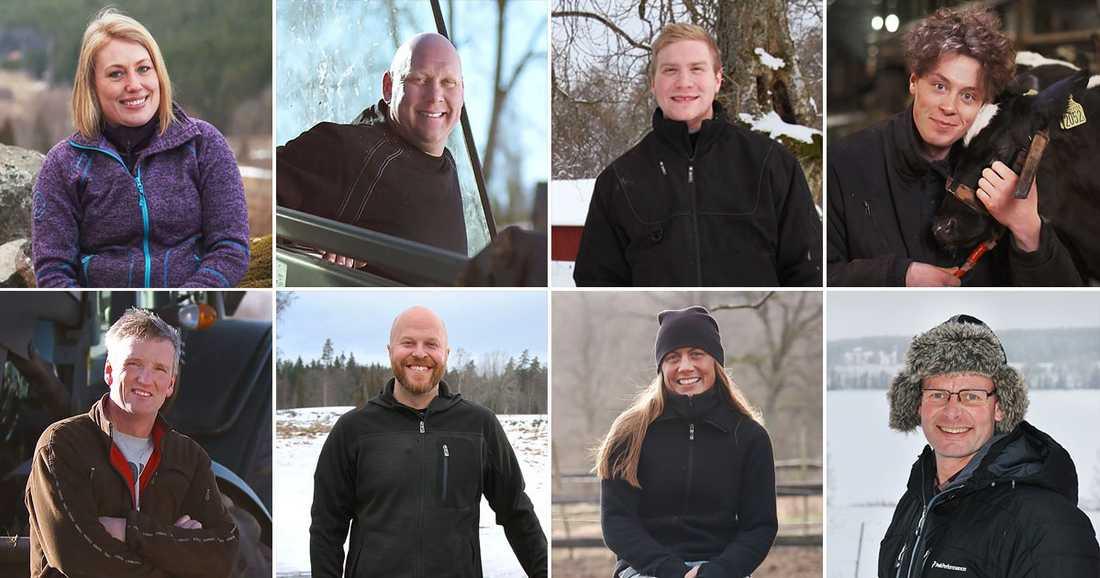 Therese Tengmark, 39 år, ekologisk nötbonde från Malexander (ursprungligen Sigtuna), Jörgen Pettersson, ekologisk nöt - och skogsbonde, 40 år från Askersund, Dennis Andersson, 23 år, ekologisk nötbonde från Toftaholm, Erik Ohlsson 21 år, kviguppfödare från Edsbyn, Fredrik Leandersson, Johan Petersson, 39 år, mjölkbonde från Sävsjö, Leonora 40 år, skogsbonde från Jockarp/Sölvesborg, Wilhelm Nyh, ekologisk mjölkbonde, 48 år från Trångsviken.