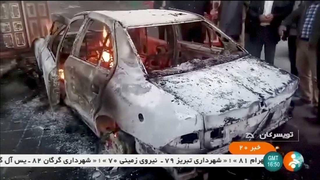 Utbrunnen bil i Zanjan, Iran.