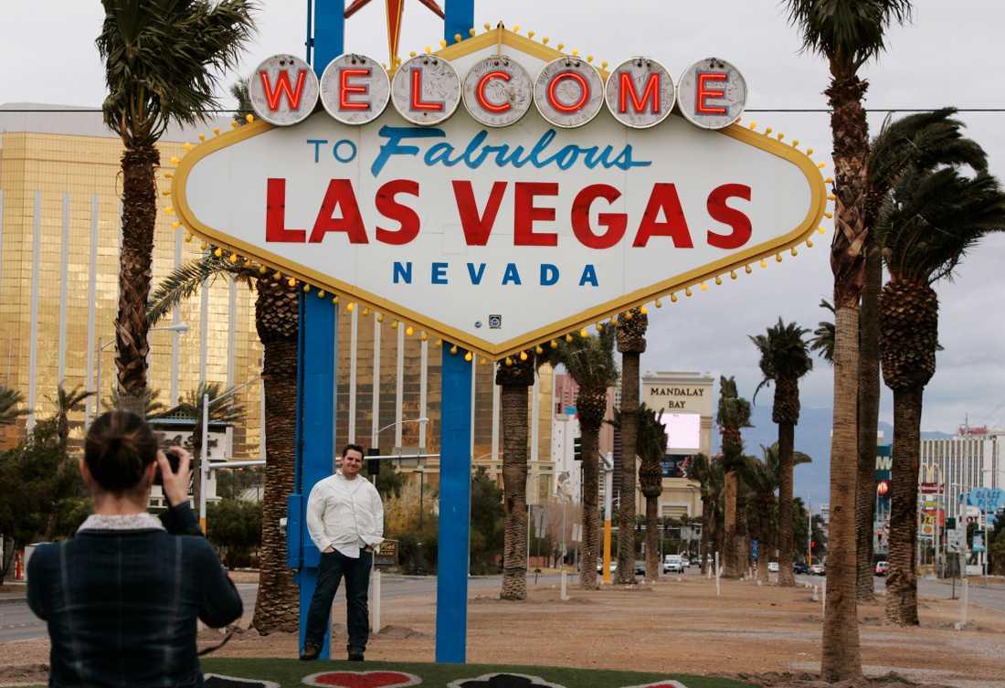 Arkivbild på välkomstskylten till Las Vegas.