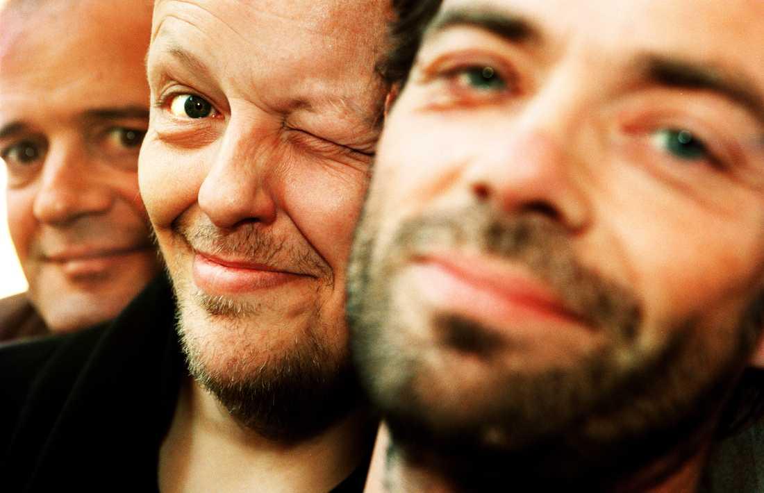 Freddie Wadling med Sebastian Öberg och Jonas Lindgren i Fläskkvartetten 1998