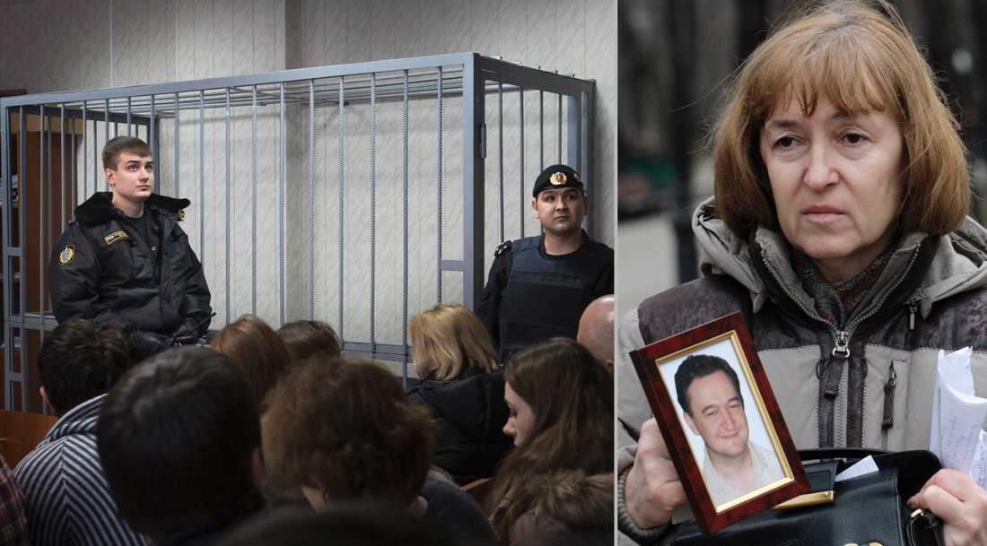 Sergej Magnitskil skulle ställas inför rätta för korruptionsbrott i Ryssland med dog i fängelse 2009. Till höger hans mamma Natalia Magnitskaja.