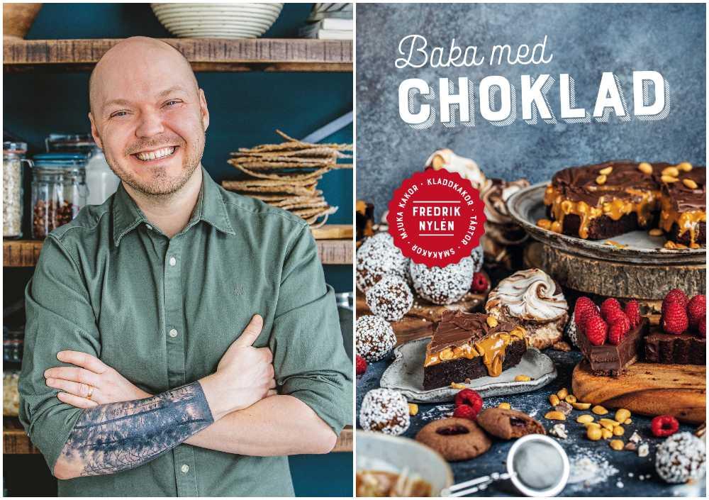 Fredrik med sin bok Baka med choklad