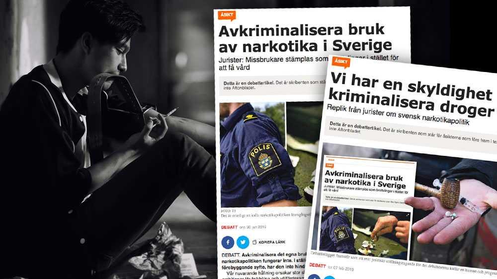 Det finns inga internationella konventioner som tvingar Sverige att kriminalisera eget bruk av narkotika, skriver debattörerna.