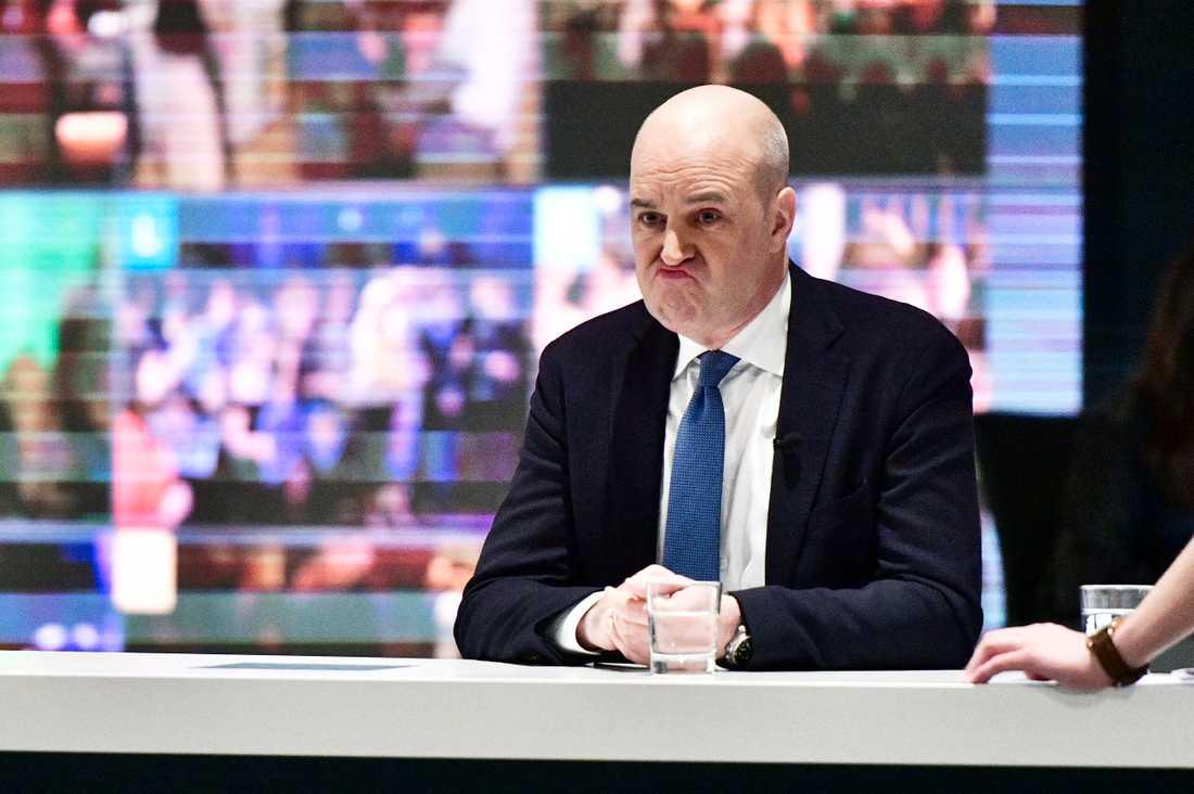 Tidigare statsministern Fredrik Reinfeldt (M) på SVT:s valvaka.