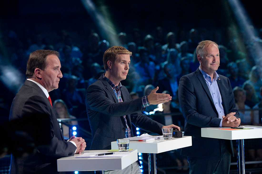 Stefan Löfven (s) Gustav Fridolin (MP) och Jonas Sjöstedt (V).