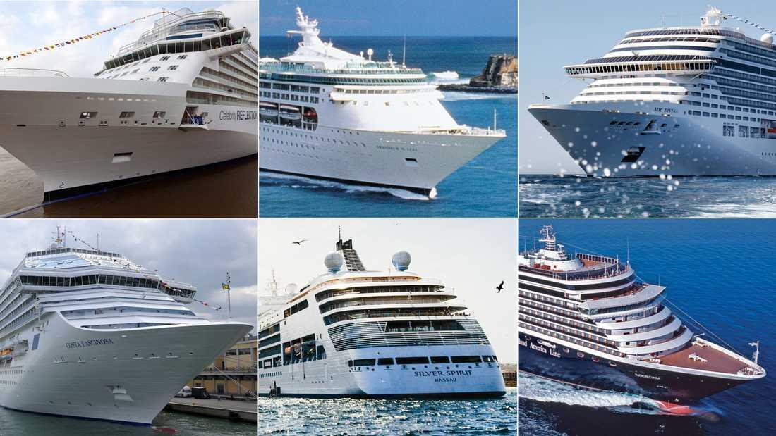 Överst från vänster: Celebrity Reflection, Grandeur of the Seas och MSC Divina. Underst från vänster: Costa Fascinosa, Silver Spirit och Noordam.