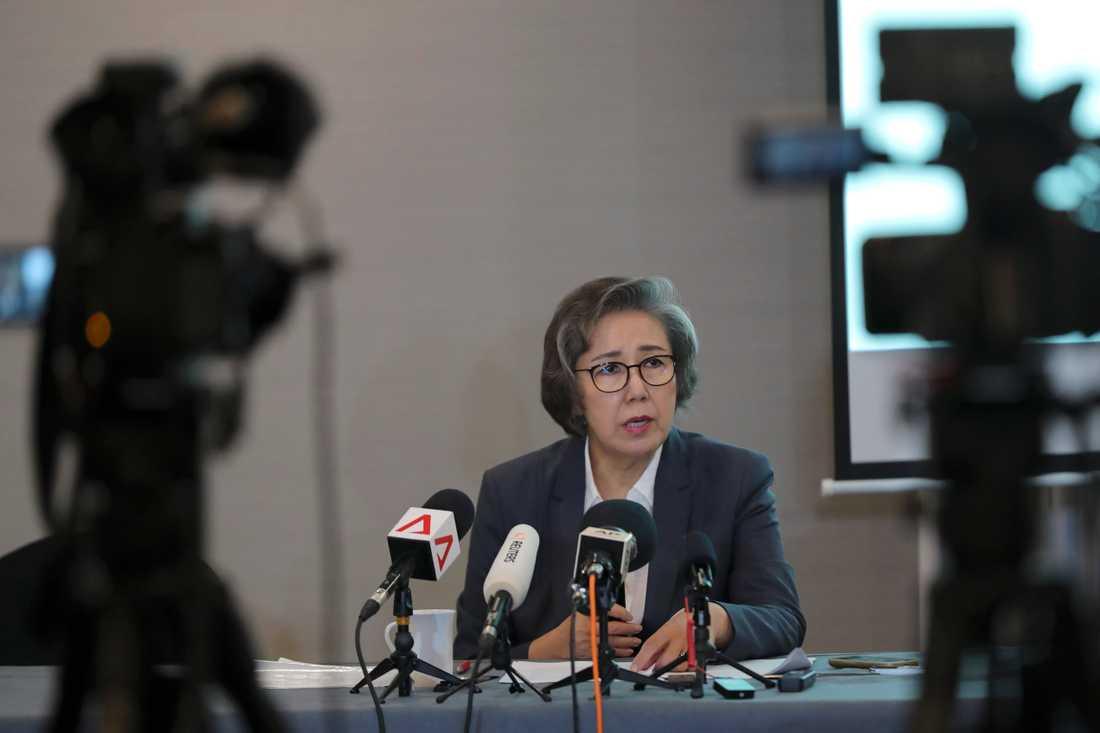 FN:s särskilda rapportör för mänskliga rättigheter i Myanmar, Yanghee Lee, fördömde dödandet av rohingyer när hon höll presskonferens i Malaysias huvudstad Kuala Lumpur 18 juli 2019.