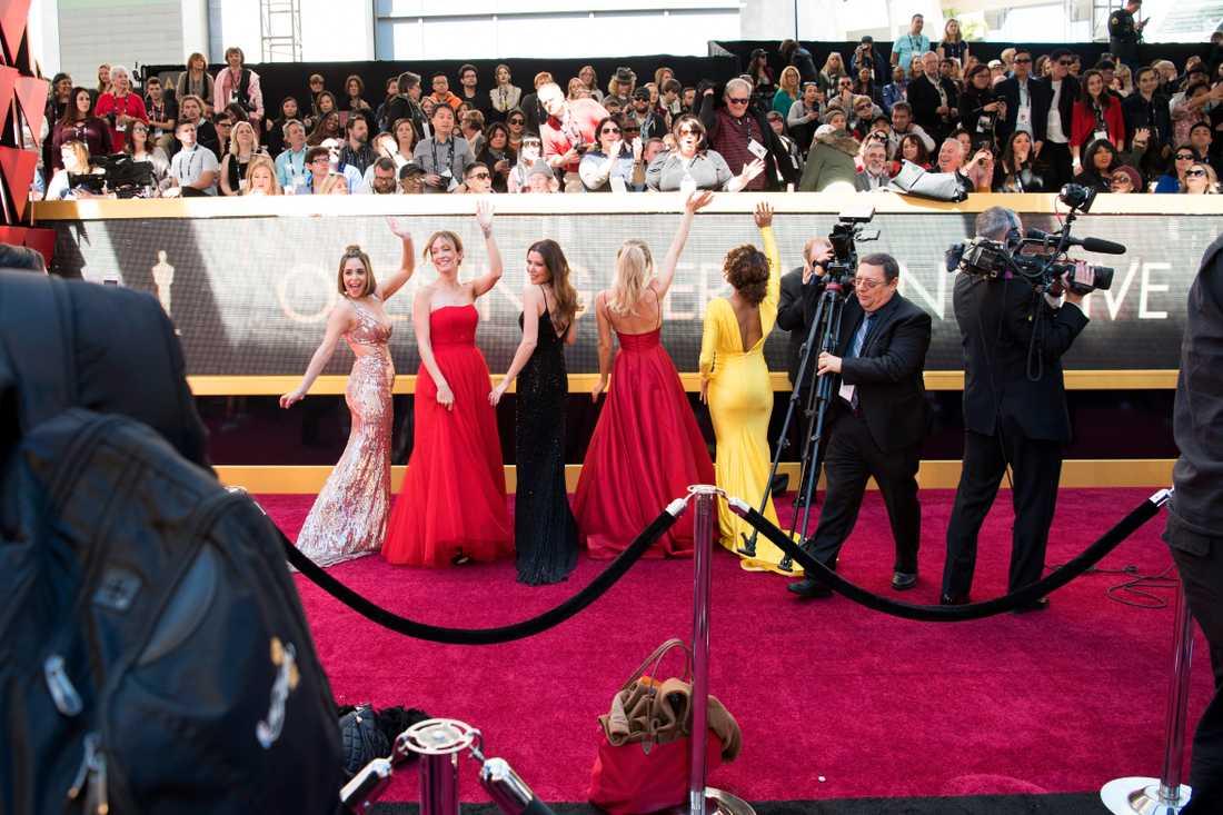 Förberedelser på röda mattan vid Oscarsgalan i Los Angeles 2018.